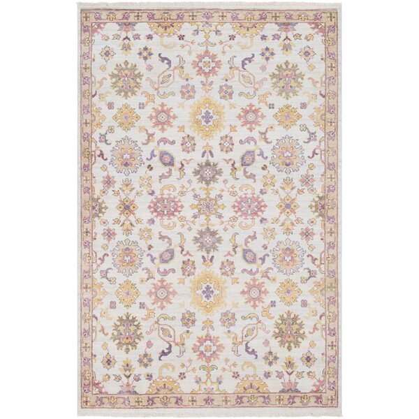Casco Floral Hand Knotted Camel/Beige Area Rug by Bungalow Rose