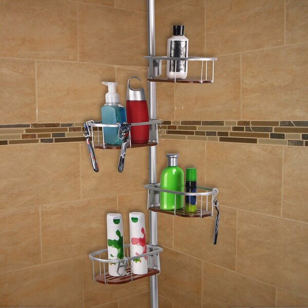 Teak Tension Rustproof Shower Caddy by Utopia Alley