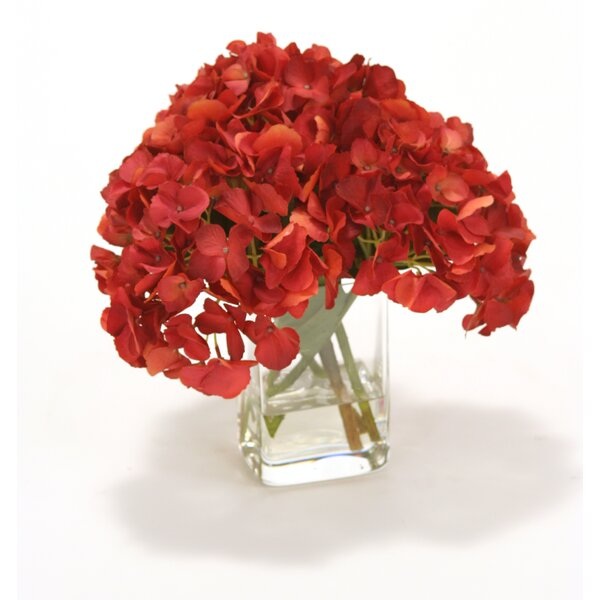 Waterlook Dark Red Hydrangea in Square Glass Vase by Distinctive Designs