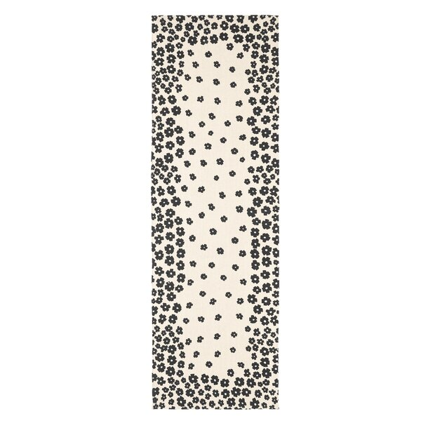 Carlos Floral Handmade Flatweave Cotton Cream/Black Area Rug