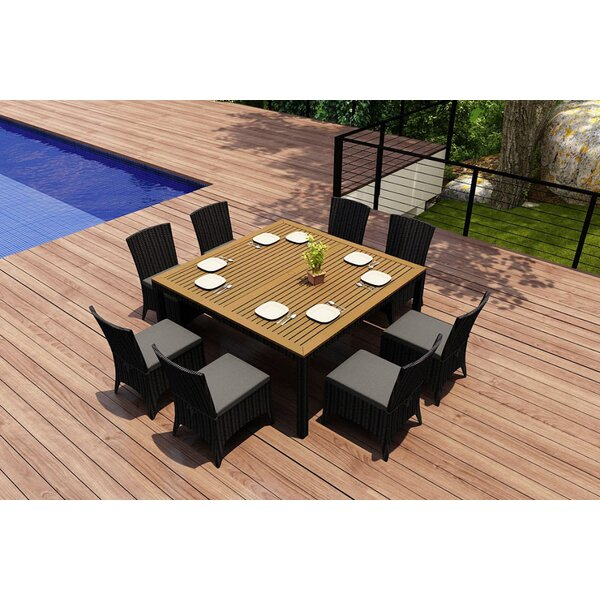 Holbrook 9 Piece Teak Dining Set with Sunbrella Cushions by Rosecliff Heights