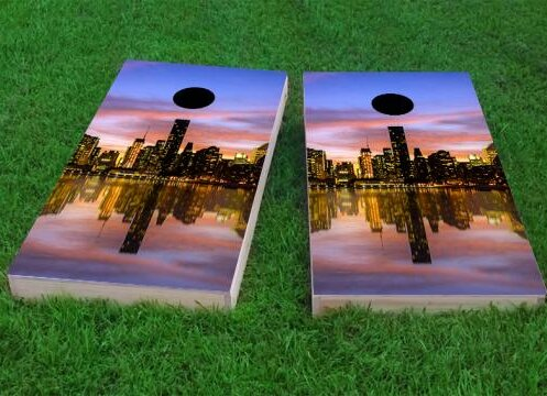 New York City at Sunset Cornhole Game (Set of 2) by Custom Cornhole Boards