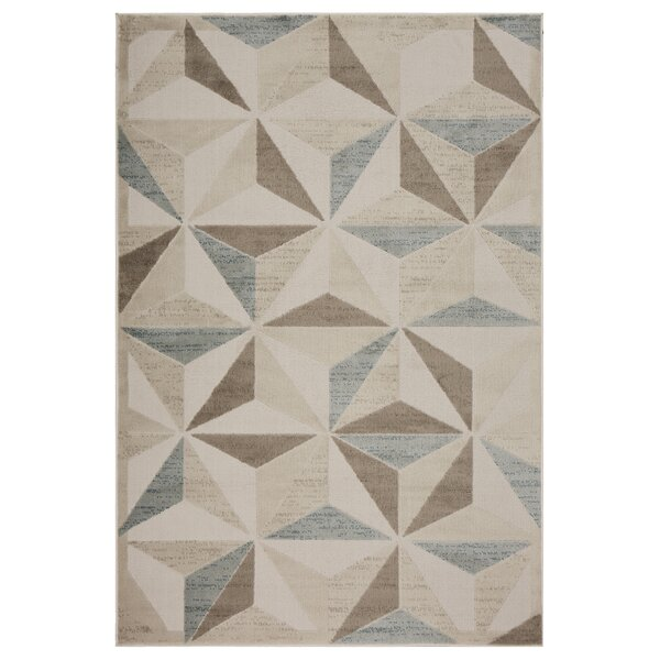 Gelb Diamond Subtility Beige Area Rug by Wrought Studio