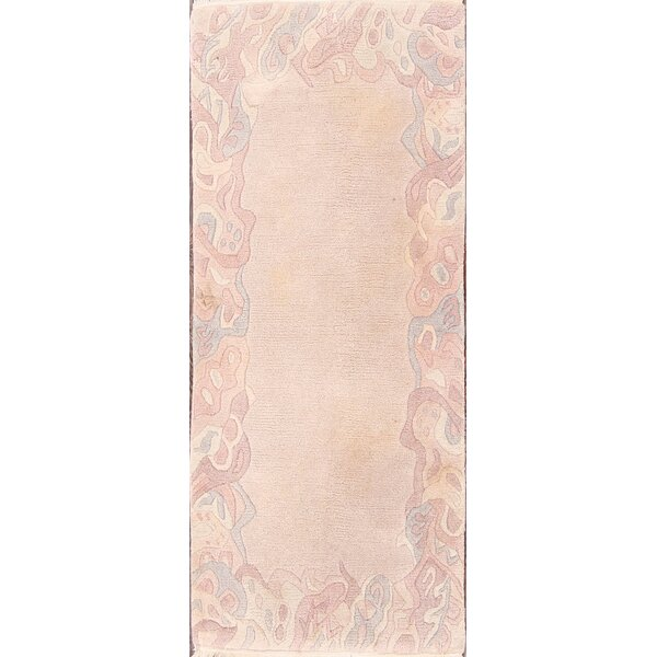 Sorrells Nepal Tibet Oriental Contemporary Hand-Knotted Wool Beige/Ivory Area Rug by Bloomsbury Market