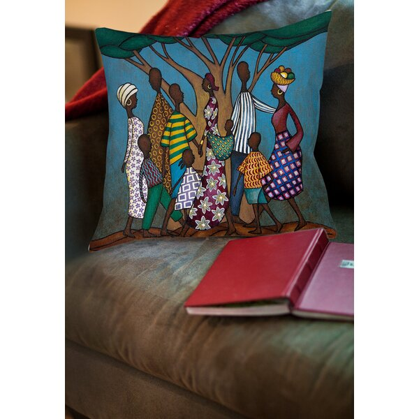 Family Tree Printed Throw Pillow by Manual Woodworkers & Weavers