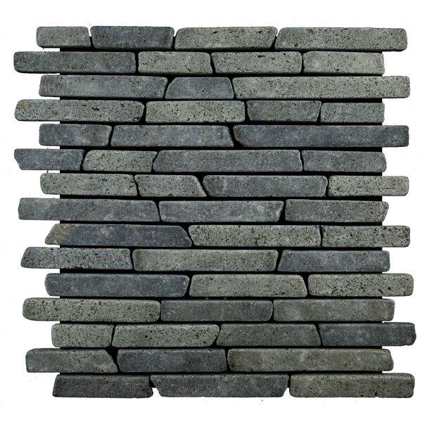 Sticks Random Sized Natural Stone Mosaic Tile in Black by Pebble Tile