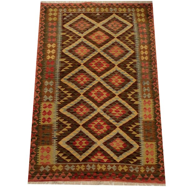 Kilim Hand-Woven Tribal Rust/Olive Area Rug by Herat Oriental