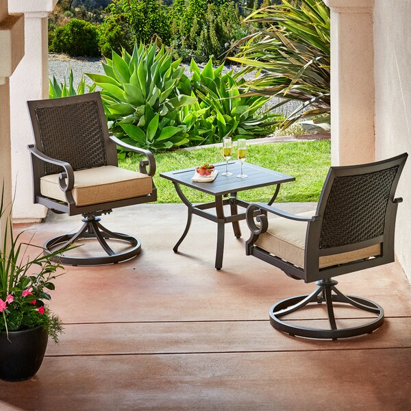 Kingston Seymour Milano 3 Piece Bistro Set with Cushions by Bayou Breeze