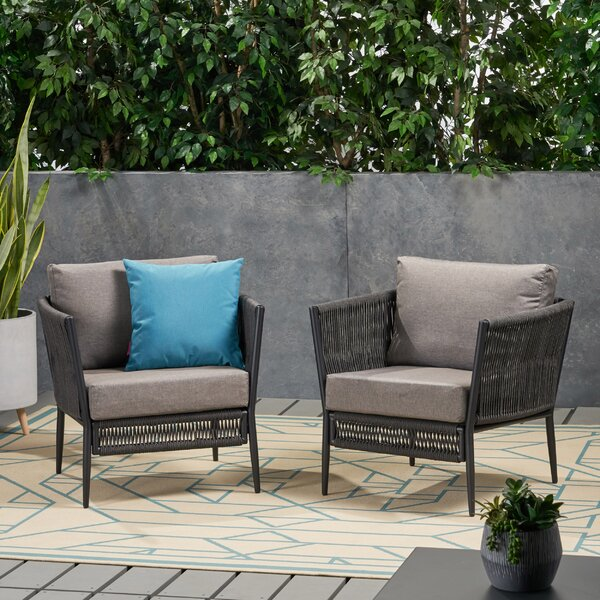 Westerman Patio Chair with Cushions (Set of 2) by Wrought Studio Wrought Studio