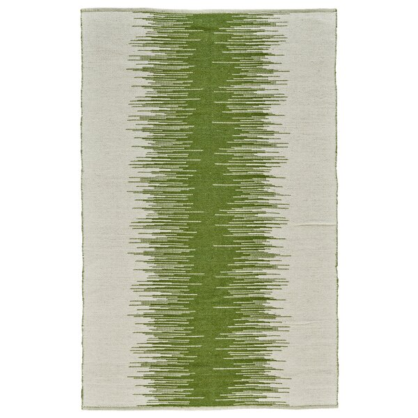 Evins Hand-Woven Green Area Rug by Ebern Designs