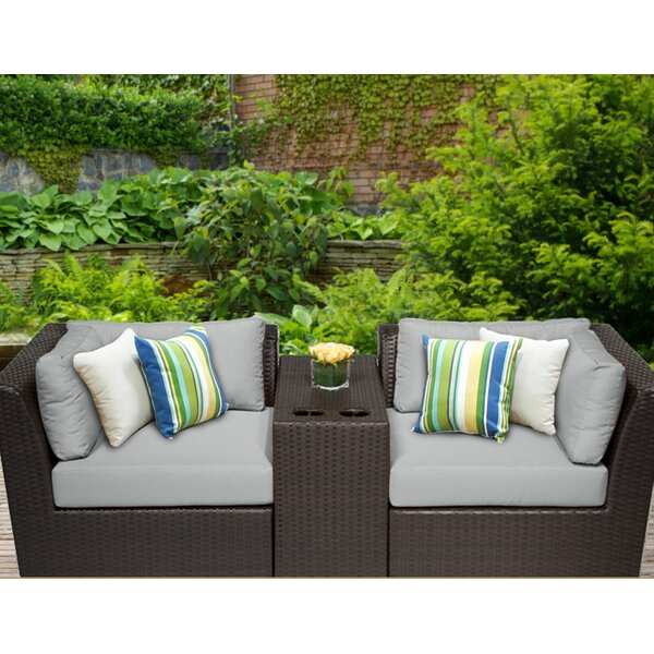 Barbados 3 Piece Rattan Conversation Set with Cushions by TK Classics