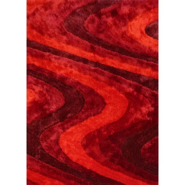 Osteen Shaggy Hand-Tufted Red Area Rug by Orren Ellis