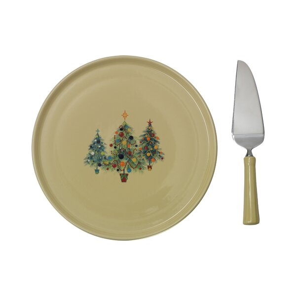 Christmas Tree Cake Plate with Server by Fiesta