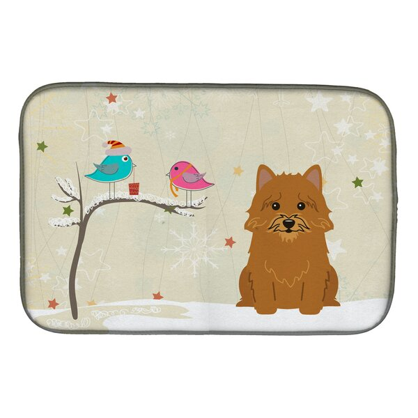 Christmas Presents Between Friends Norwich Terrier Dish Drying Mat by Caroline's Treasures