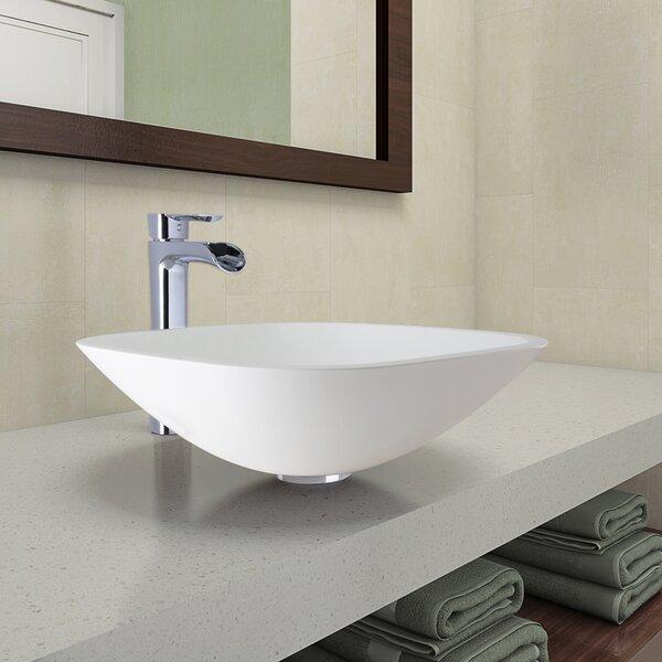 Phoenix Glass Circular Vessel Bathroom Sink with Faucet by VIGO