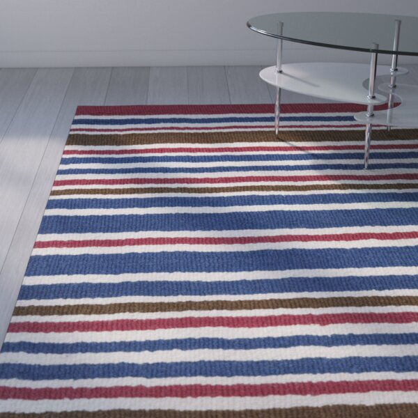 Lew Hand-Tufted Wool Blue/Red Area Rug by Viv + Rae