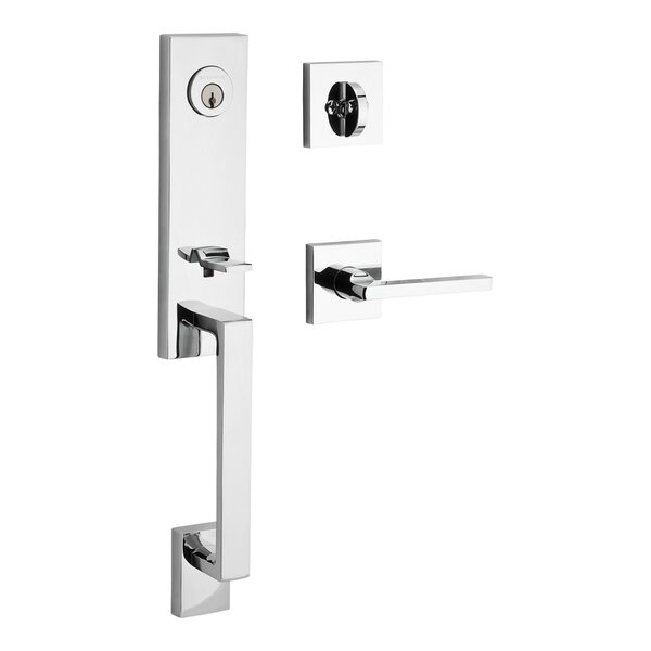 Seattle Single Cylinder Handleset with Contemporary Square Rose and Square Interior lever by Baldwin