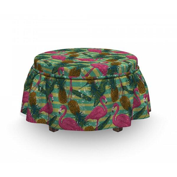 Flamingo Pineapples Banana Leaf 2 Piece Box Cushion Ottoman Slipcover Set By East Urban Home