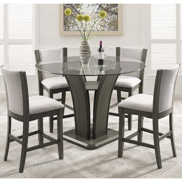 Kangas 5 Piece Round Glass Top Counter Height Dining Set Part 23