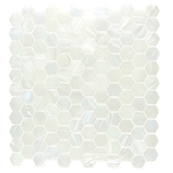 Hexagon 11.33 x 10.75 Glass Mosaic Tile in White Pearl Diamond by Abolos