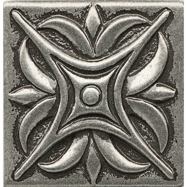 Ambiance Insert Rising Star 2 x 2 Resin Tile in Pewter by Bedrosians