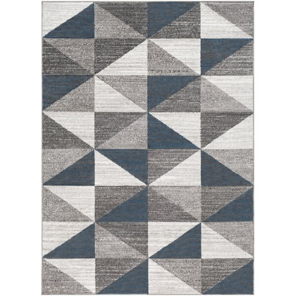 Cudney Geometric Navy/Gray Area Rug by George Oliver