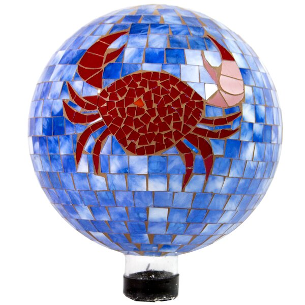 Germana Mosaic Crab Gazing Globe by Highland Dunes