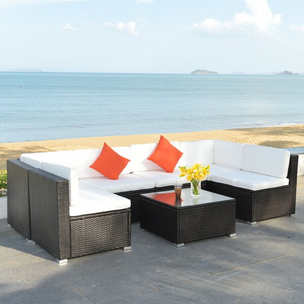 Odebolt Patio 7 Piece Rattan Sectional Seating Group with Cushions by Latitude Run Latitude Run