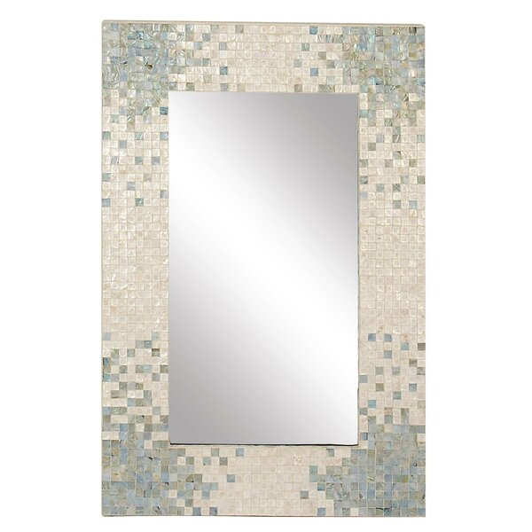 Elliott Modern Rectangular Framed Accent Mirror with Shell Inlay by Rosecliff Heights