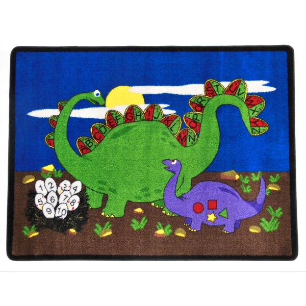 Dino Land Blue/Green Area Rug by Kids World Carpets