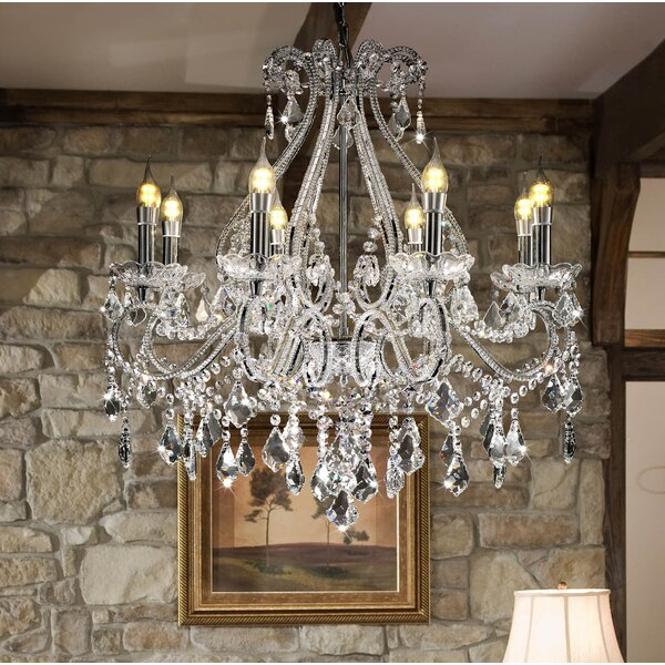 Moultry 8 - Light Candle Style Empire Chandelier with Crystal Accents by House of Hampton House of Hampton