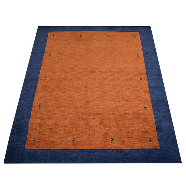 Priya Hand-Knotted Wool Navy/Orange Area Rug by World Menagerie