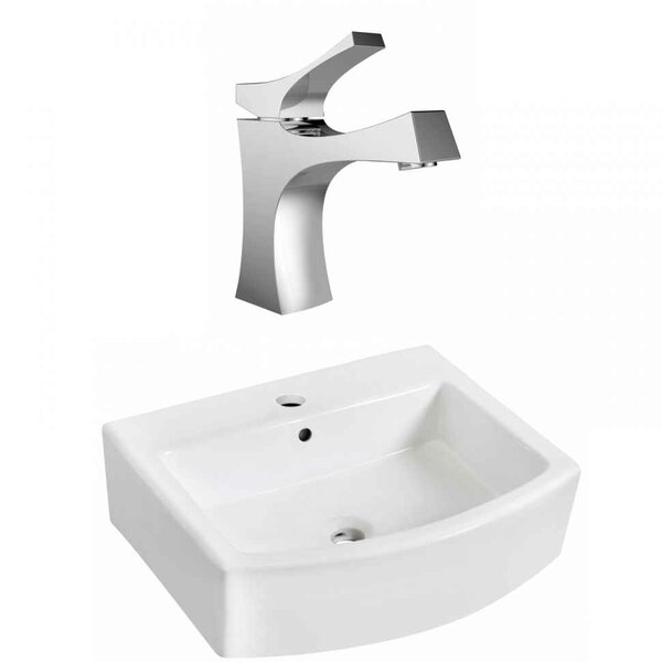 Above Counter Ceramic Vessel Bathroom Sink with Faucet and Overflow