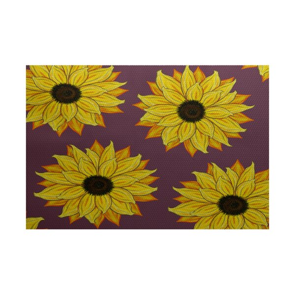 McRae-Helena Sunflower Power Flower Print Purple Outdoor Indoor/Outdoor Area Rug by August Grove