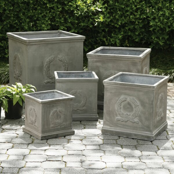 Oavia 5-Piece Wreath Square Fibreclay Planter Box Set by Darby Home Co