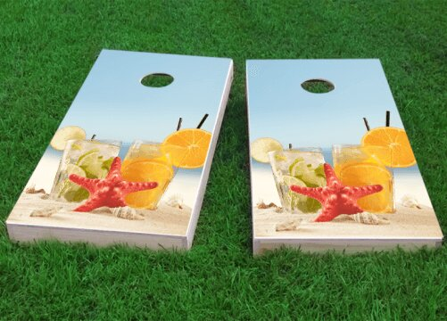Drinks on Beach Cornhole Game (Set of 2) by Custom Cornhole Boards