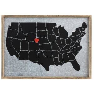 Urban Homestead 'USA Map with Heart Magnet' Framed Graphic Art by Creative Co-Op