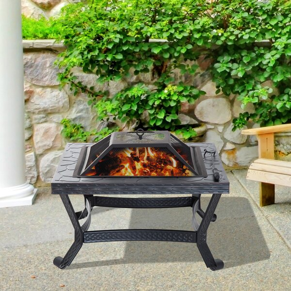 Steel Wood Burning Fire Pit with Cover by Outsunny