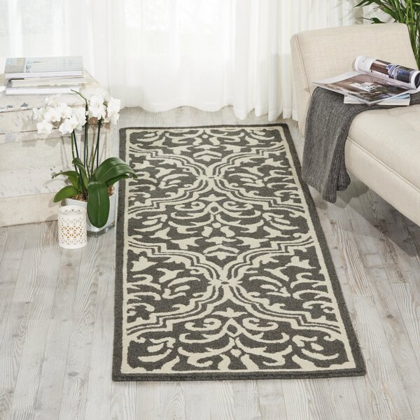 Hockenberry Hand-Hooked Wool Gray/Ivory Area Rug by Darby Home Co