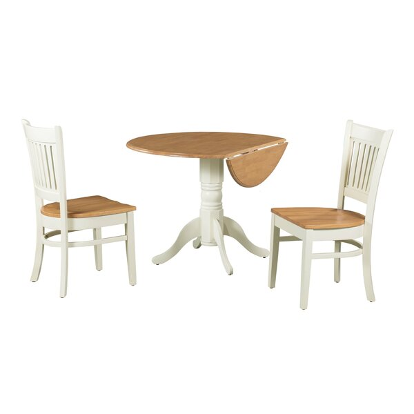 Agnese 3 Piece Drop Leaf Solid Wood Dining Set by August Grove