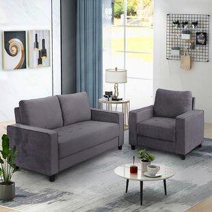 Faustin 2 Piece Velvet Living Room Set by Ebern Designs