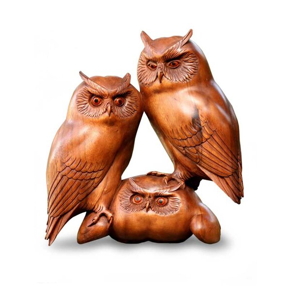 Langner Owl and Her Chicks Wood Figurine by Millwood Pines