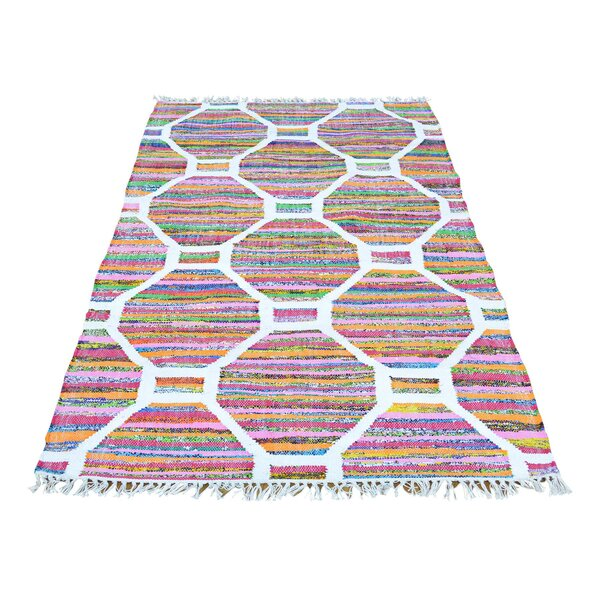 Flat Weave Kilim Hand-Knotted White/Pink Area Rug by Bungalow Rose