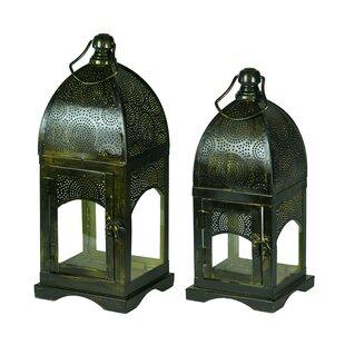 Moroccan 2 Piece Metal Lantern Set
