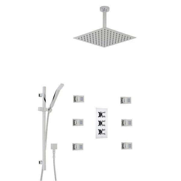 Reno Ceiling Mount Thermostatic Complete Shower System with Rough-in Valve by FontanaShowers FontanaShowers
