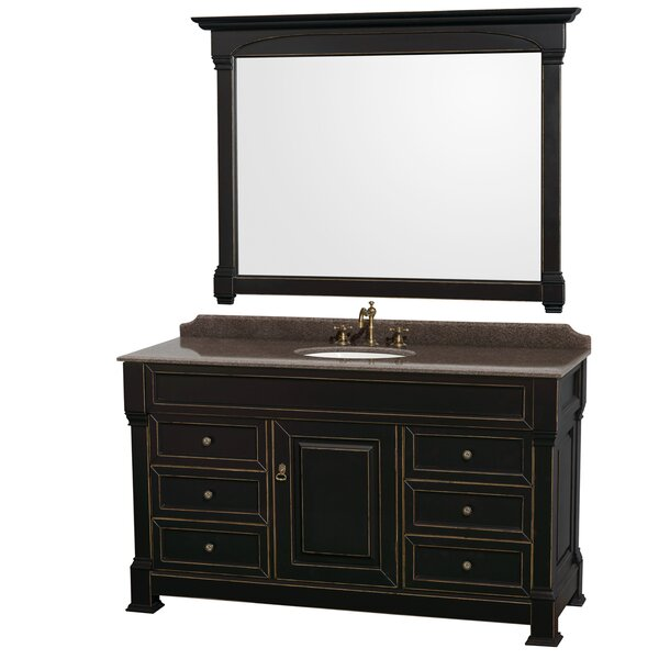 Andover 60 Single Black Bathroom Vanity Set with Mirror by Wyndham Collection