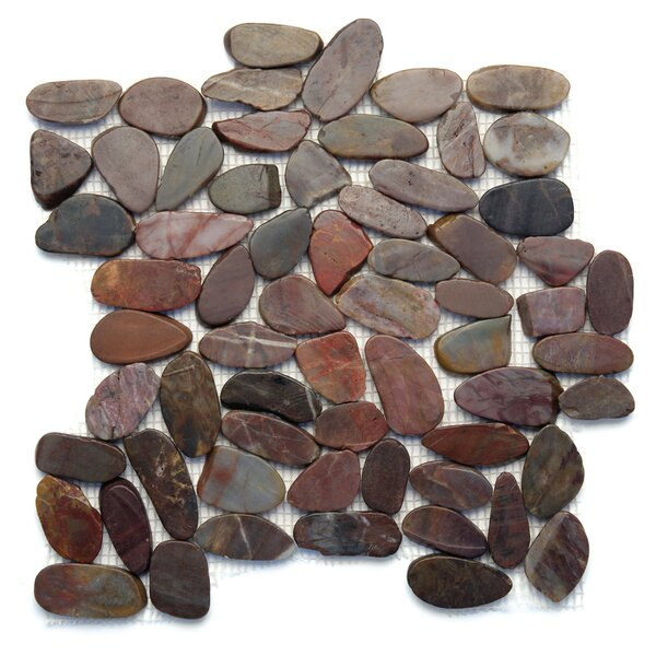 Koja Random Sized Natural Stone Pebble Tile in Cobra by Solistone
