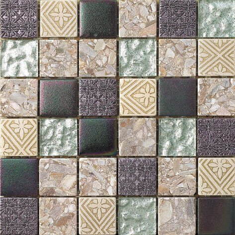 2 x 2 Glass and Natural Stone Mosaic Tile in 4 Color Blend by Intrend Tile