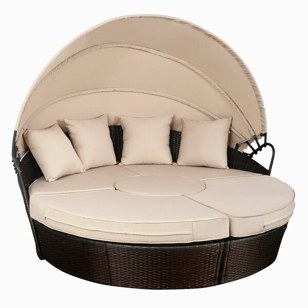 Noor Outdoor Mix Brown Rattan Patio Sofa Furniture Round Retractable Canopy Daybed by Bay Isle Home