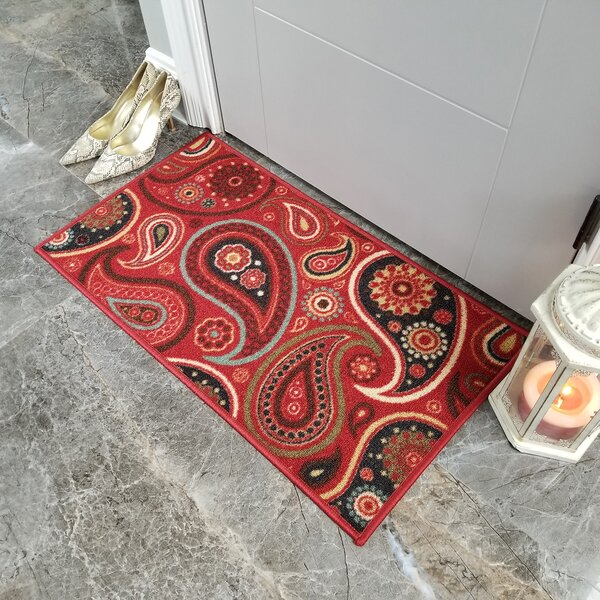 Beauchamp Square Red Paisley Doormat by Andover Mills
